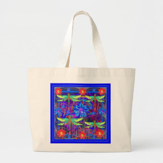 Tropical Dragonflies Blue Flower gifts Large Tote Bag
