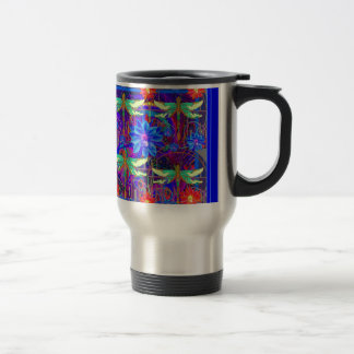 Tropical Dragonflies Blue Flower gifts Travel Mug