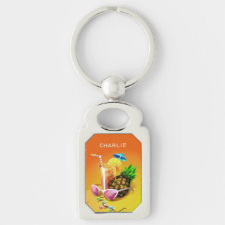 Tropical Drink custom name key chain