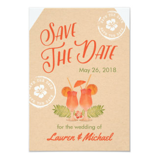 Tropical Drinks Destination Wedding Save the Date Card