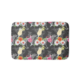 Tropical Drinks With Animals Bathroom Mat