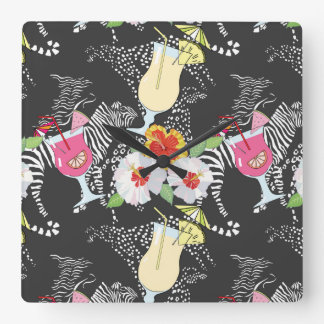 Tropical Drinks With Animals Clock