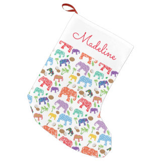 Tropical Elephants | Add Your Name Small Christmas Stocking