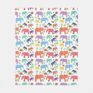 Tropical Elephants Fleece Blanket