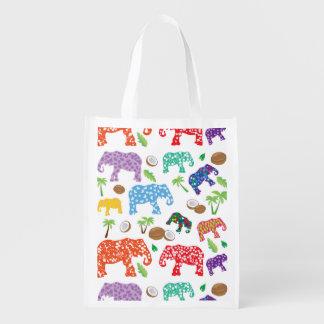 Tropical Elephants Grocery Bags