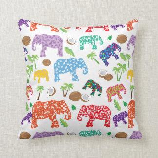 Tropical Elephants Throw Pillow