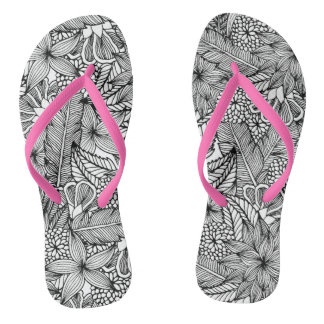 Tropical Escape Black and White Flip Flops