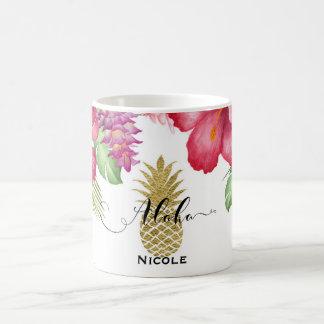 Tropical Exotic Flowers & Gold Pineapple Aloha Coffee Mug
