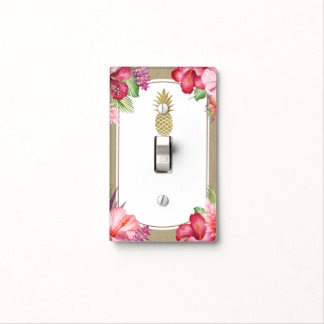 Tropical Exotic Flowers Gold Pineapple Aloha luau Light Switch Cover