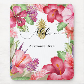 Tropical Exotic Flowers & Gold Pineapple Aloha Mouse Pad