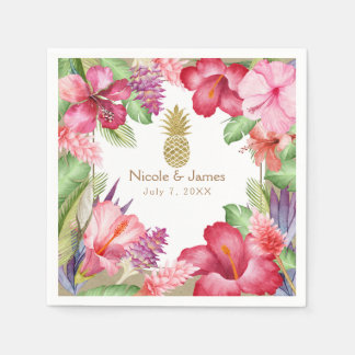 Tropical Exotic Flowers & Gold Pineapple Elegant Disposable Napkin