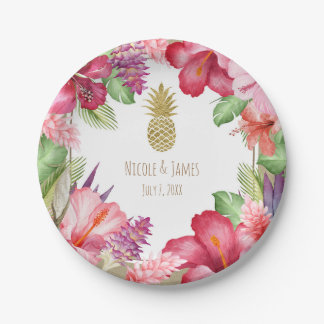 Tropical Exotic Flowers & Gold Pineapple Elegant Paper Plate