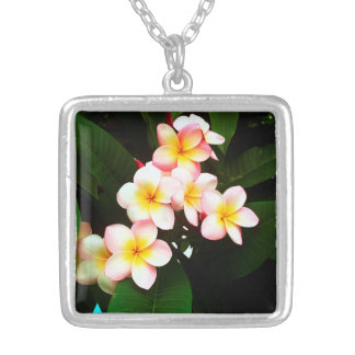 Tropical Exotic Frangipani Flower Silver Plated Necklace
