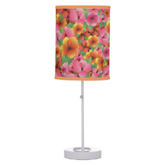 Tropical Exotic Hibiscus Table Lamp Floral Design