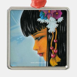 Tropical Faerie Silver-Colored Square Ornament