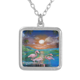 Tropical Famingos Silver Plated Necklace