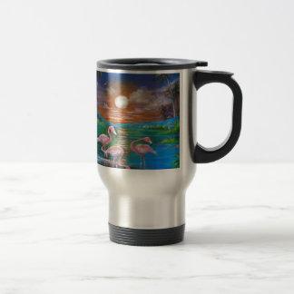 Tropical Famingos Travel Mug