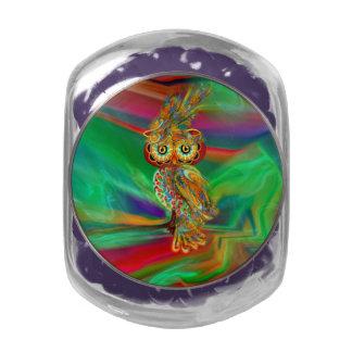 Tropical Fashion Queen Owl Candy Glas Jar