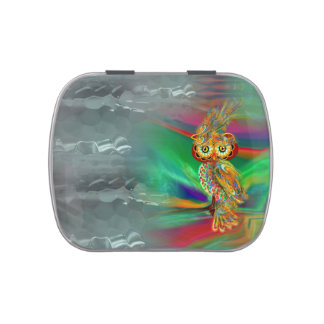 Tropical Fashion Queen Owl Candy Tin