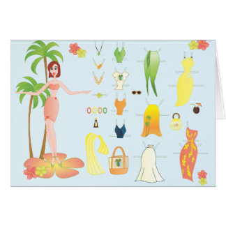 Tropical Fashions Paper Doll Card