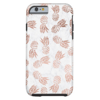 Tropical faux rose gold pineapples white marble tough iPhone 6 case