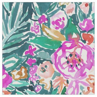 TROPICAL FEELS Floral Watercolor Print Fabric