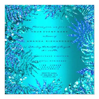 Tropical Fern Beach Ocean Blue Turquoise Glitter Card