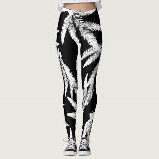 Tropical Fern Black & White Leggings