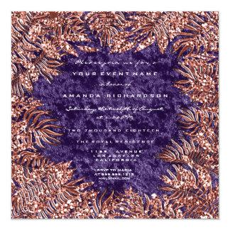 Tropical Fern Frame Metal Velvet Copper Violet Card