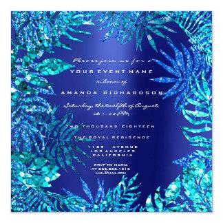 Tropical Fern Leaf Frame Ocean Blue Indigo Glitter Card