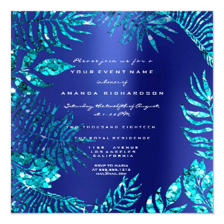 Tropical Fern Leaf Frame Ocean Blue Indigo Turqois Card