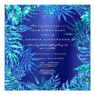 Tropical Fern Leaf Ocean Blue Indigo Glitter Aqua Card