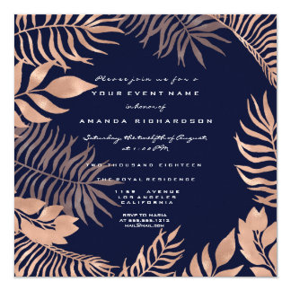 Tropical Fern Leafs Frame Rose Gold Blue Navy Card