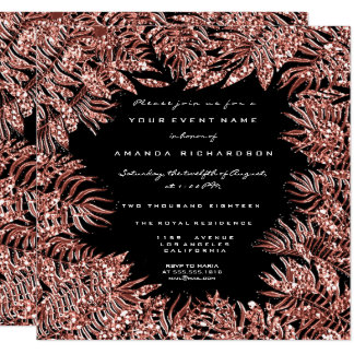 Tropical Fern Leafs Frame Rose Gold Copper Black Card