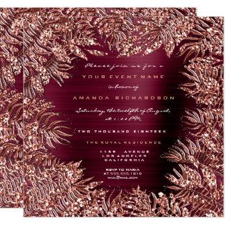 Tropical Fern Leafs Frame Rose Gold Copper Burgund Card