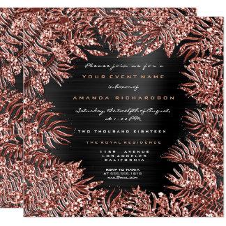 Tropical Fern Leafs Framed Rose Gold Copper Black Card