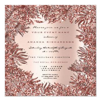 Tropical Fern Leafs Framed Rose Gold Pink Metallic Card