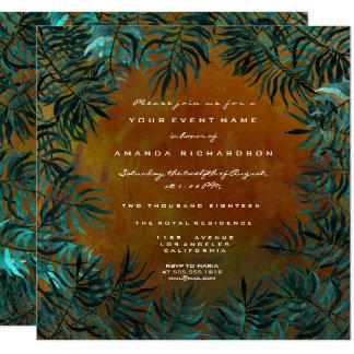 Tropical Fern Leafs Framed Teal Aquatic Honey Gold Card
