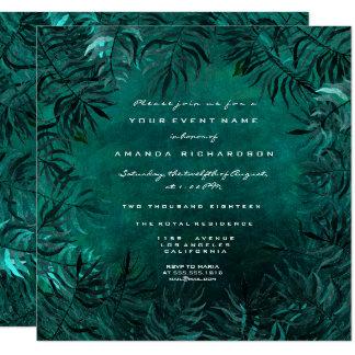 Tropical Fern Leafs Framed Teal Aquatic Woodland Card