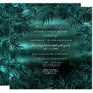 Tropical Fern Leafs Framed Teal Cali GreenWoodland Card