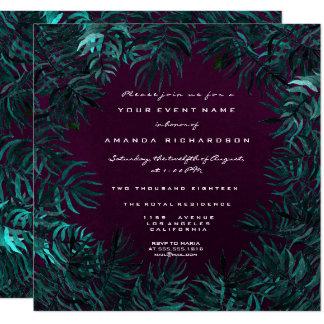 Tropical Fern Leafs Framed Teal Cali Plum Woodland Card