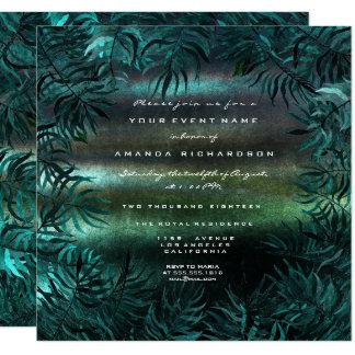 Tropical Fern Leafs Framed Teal Woodland Green Card