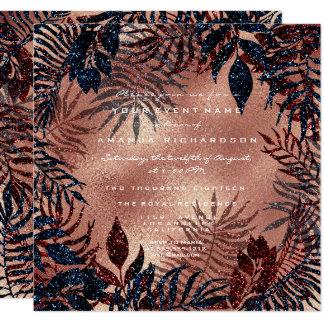 Tropical Fern Leafs Wreath Copper Teal Navy Rose Card