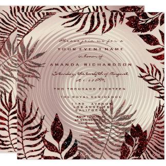 Tropical Fern Leafs Wreath Rose Gold Burgund Wine Card