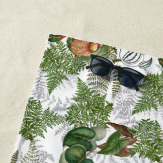 Tropical Ferns Leaves Flowers Islands Beach Towel