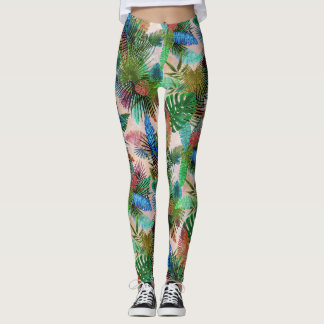 Tropical Ferns, Palm and Banana Leaves Leggings