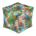 Tropical Ferns, Palm and Banana Leaves Pouf