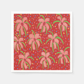 Tropical Fiesta Flowers Red Paper Napkins