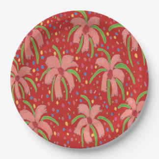 Tropical Fiesta Flowers Red Paper Plates