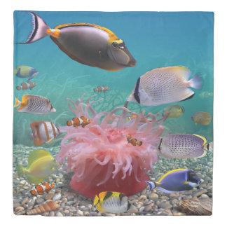 Tropical Fish (1 side) Queen Duvet Cover